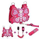 Lehoo Castle Toddler Leash, Kids Safety Harness + Anti Lost Wrist Link with Key Lock, Baby Leash HarnessforWalking Girls (Butterfly)