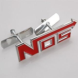 NOS RED 3D Grill Logo Sticker with Screws Chrome Badge for Toyota Suzuki Hyundai