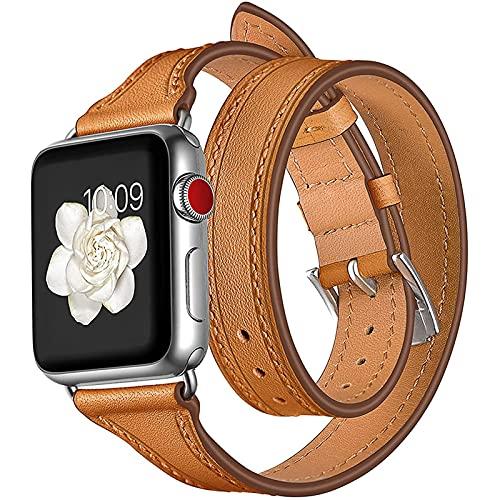 Compatible con Apple Watch Band 42 Mm 44 Mm, Correa De Cuero Genuino Reemplazo para Iwatch Series 6 SE 5 4 3 2 1 Correa Delgada con Diseño De Doble Recorrido,42mm/44mm