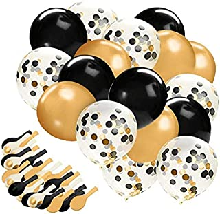 Gold Confetti Balloons, 30 Pc Black and Gold Confetti Balloons,12in Black Gold and Clear Latex Balloons for Bridal Shower,...