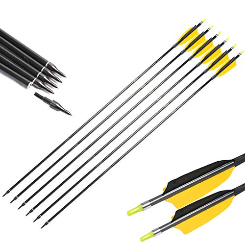 Linkboy Archery Carbon Arrows Shaft ID6.2mm Spine 300 340 400 500 600 700 800 for Compound Bow Hunting (spine400)