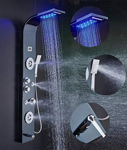 ELLO&ALLO Stainless Steel Shower Panel Tower System,LED Shower Head 6-Function Faucet Rain Massage System with Body Jets, Black