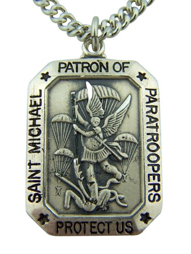CB Sterling Silver 1-Inch Saint Michael Protect Us Paratroopers Medal