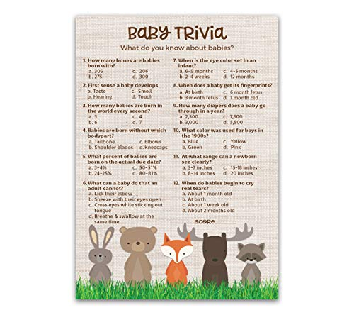 WOODLAND ANIMALS Baby Shower Game — BABY TRIVIA Game — Pack of 25 — Country Rustic GENDER NEUTRAL Baby Shower Games, FALL Outdoors Baby Shower Games, Fun Baby Facts Game Baby Shower Activity G601-TRV