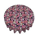 Mantel Boston Terrier Morado Vintage Floral 60 Pulgadas Redondo Impermeable Cubierta De Mesa Resistente A Las Arrugas