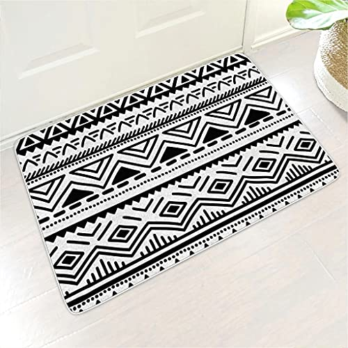 Qunrontan black and white classical Commercial Floor Rug Door Mats Waterproof Quickly Absorb Moisture and Resist Dirt with Rubber Backing for Entrance/Entry Way/Front Door white 24x35 inch