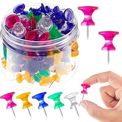 100 Pieces Giant Push Pins 1 Inch Standard Thumb Tacks Steel Point and Plastic Head Push Pins for Cork Board (Red, Yellow, Blue, Green, Clear)