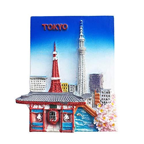 Imán para nevera de Tokyo Landmark Japón 3D, de resina, hecho a mano, para decoración de hogar y cocina, imán japonés para nevera