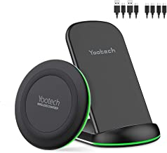 Yootech Wireless Charger, [2 Pack] Qi-Certified 10W Max Wireless Charging Pad Stand Bundle,Compatible with iPhone 11/11Pro/11Pro Max/XS Max/XR/XS,Galaxy Note 10/S10/S9,AirPods Pro(No AC Adapter)