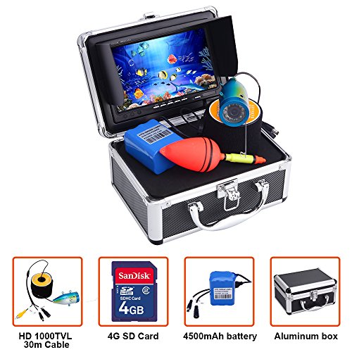Portable Fish Finder Underwater Fishing Camera System Kit Video Recording Edition DVR 7' Monitor LCD HD 1000TVL IP68 30m Cable 4500mAh Rechargeable Battery Night Version for Ice,Lake and Boat Fishing