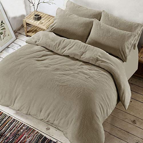 River Nile Soft Teddy Fleece Duvet Set with Pillow Cases - Extra Snugly Warm And Cosy Quilt Cover Sets Single, Double, King & Super King (Beige, Single)