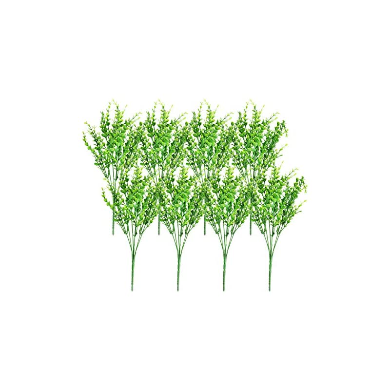silk flower arrangements artificial shrubs (8-pack); faux plastic leafy greenery imitation boxwood plants for decorating indoor & outdoor