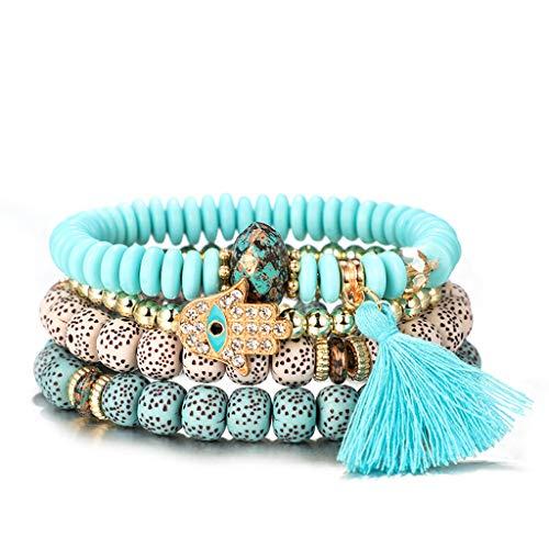 siwetg Lot de 4 bracelets Lucky Jewelry - En bois - En forme de main de Fatma