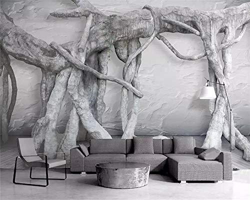 Fotobehang, behang, stereobom, wortelt, jong bos, 3D stereo-achtergrond voor televisie, decoratief behang 400x280cm