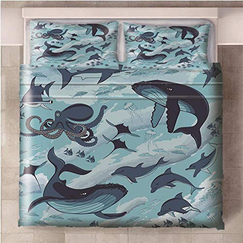 NHBTGH Duvet Cover Whale Printed Polyester Bedding Set Single Size with Zipper Closure + 2 Pillowcases Easy Care Anti-Allergic Soft & Smooth