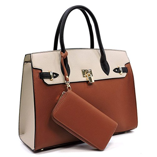 Deluxity Large Padlock Accent Structured Business Satchel +Wallet- Brown/Sand