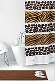 wohnideenshop Duschvorhang Savana weiß braun gelb Afrika Zebra- und Giraffe Textil 240cm breit x 200cm lang inkl. Ringe