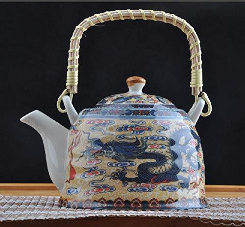 Teekannen Retro Kinder Trinken Tee Teekanne Emaille Japanischen Stil Altmodischen Restaurant Tee-Set Große Keramik-Kühler Hotel Offener Wasserkocher-Huang Shuanglong Lift Beam 900Ml