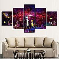 SFDHG de 5 Paneles Rick y Morty HD decoración dehd Cuadros parapara decoración del-No Frame-110x60Cm