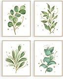 Green Leaf Art Print Botanical Bathroom Quotes Wall Art Set of 4(8'X10' Gold Leaf Wall Art Canvas Prints for Office Bedroom Living Room Washroom Toilet Decor (UNFRAMED)