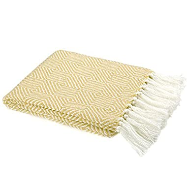 LANGRIA Cotton Geometrical Pattern Blanket Throw with Tassels For Chair, Couch, Picnic, Camping, Beach, Everyday Use, Easy Care Machine Washable Blanket (50 x60 , Yellow)