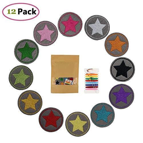 GloBal Mai Bügelflicken Kinder, Flicken zum Aufbügeln für Kinder, Stern Aufbügler Bügelbild klein rund 12er Set Patches zum aufbügeln