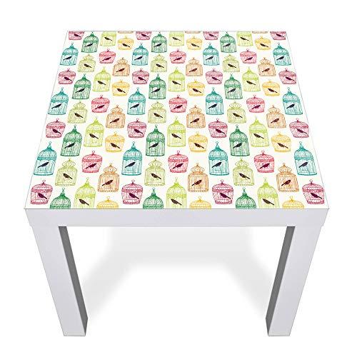 banjado Glasplatte für IKEA Lack Tisch 55x55cm | Abdeckplatte aus Sicherheitsglas | Motiv Einraumwohnung | Tischplatte für Beistelltisch, Sofatisch weiß Glasplatte & Tisch