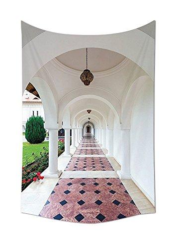 asddcdfdd Apartment Decor Tapestry Dome Arched Colonnade Hallway at Sambata De Sus Monastery in Transylvania Romania Bedroom Living Room Dorm Decor White Green