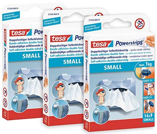Powerstrips Small im 3er Pack - Doppelseitige Klebestreifen zur Montage von Gegenständen auf glatten Oberflächen - Bis zu 1kg Halteleistung - insgesamt 42 Powerstrips