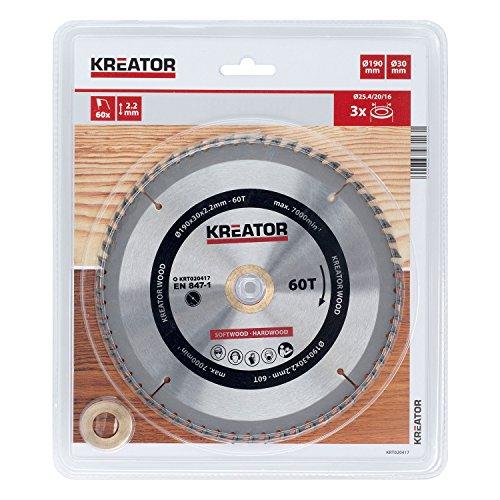 KREATOR KRT020417 - Disco de sierra madera 190mm60d