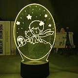 KangYD Luz de noche LED The Little Prince Baby, lámpara de ilusión óptica 3D, E - Base para despertador (7 colores), Regalo para niños, Gradiente colorido
