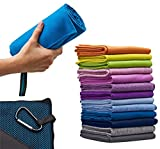 XL - 2in1 Microfiber Towel, Quick Dry, 60 x 30 in Ultra Soft, Lightweight for Sport, Travel, Backpacking, Camping, RV, Beach + Small Towel/Super Absorbent, Fast Dry, Compact - with Pouch