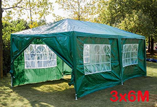 3 x 6M groen PE waterdicht paviljoen met afneembare zijwanden en ramen tuin partytent luifel partij tent voor bruiloft evenementen strand BBQ