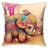Genertic Funda de cojín con diseño de Elefantes de 18 x 18 Pulgadas de Tejido de Felpa para decoración del hogar, Cuadrada, Suave y cómoda, 45 cm x 45 cm