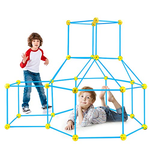 Kids Fort Construction Building Kit 85PCS STEM Toys for 4 5 6 7 8 9 Year Old Boys Girls Indoor Outdoor Toys Play Tent Playhouse DIY Building Castles Tunnels Play Tent Rocket Tower Educational Gift