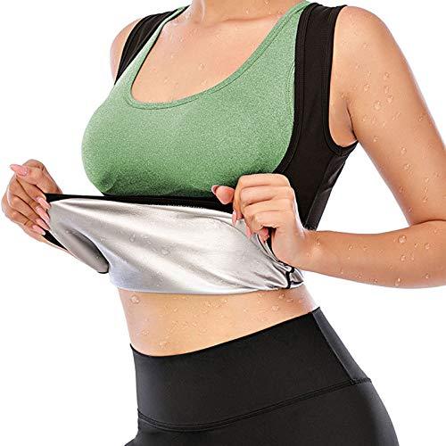 JOHNLOUISE Sauna Suit for Women,Workout Clothes for Women,Women Waist Trainer Hot Neoprene Shirt Sauna Suit Sweat Body Shaper (S-M)