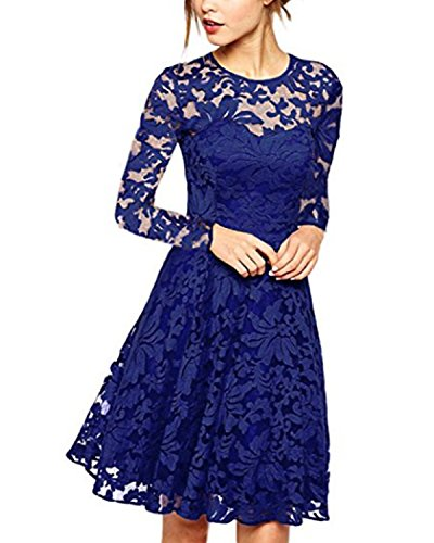 ZANZEA Damen Spitze Lace Party Cocktail Bodycon Club Lang Abend Minikleider Langarm Blau EU 44/US 12