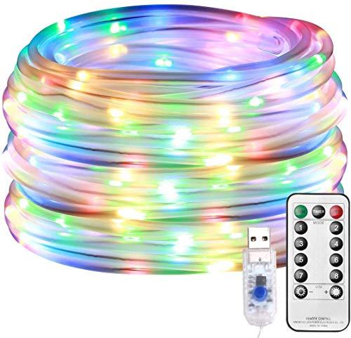 CHINS Led Lichterkette, Lichterschlauch Außen, 10M 100er LED USB 8 Modi Dimmbar mit Fernbedienung, Zeitschaltuhr und Merkfunktion, IP65 Lichter für Innen Außen Party Hochzeit Weihnachten Deko