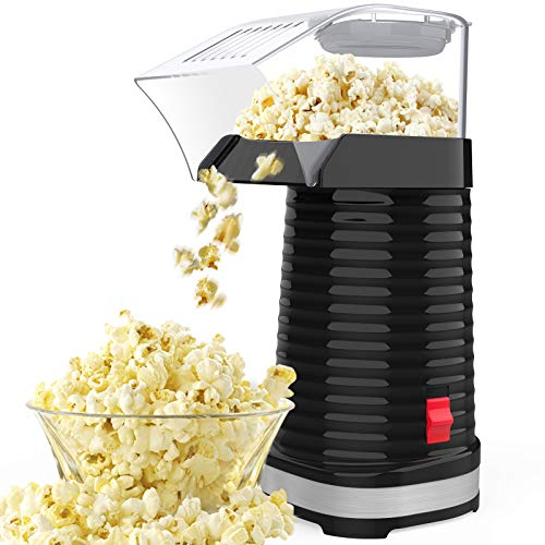 SLENPET Hot Air Popcorn Machine, 1200W Electric Popcorn Maker, ETL Certified, 98% Poping Rate, 3 Minutes Fast Popcorn Popper with Measuring Cup and Top Lid for Home, Family, Party (Black)