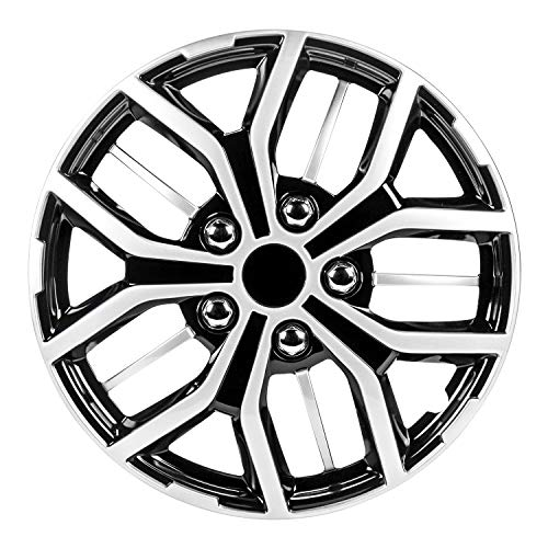 Pilot Automotive WH142-15S-B 15 Inch Super Sport Black and Silver Universal Hubcap Wheel Covers for Cars | Set of 4 | Fits Toyota Volkswagen VW Chevy Chevrolet Honda Mazda Dodge Ford and Others