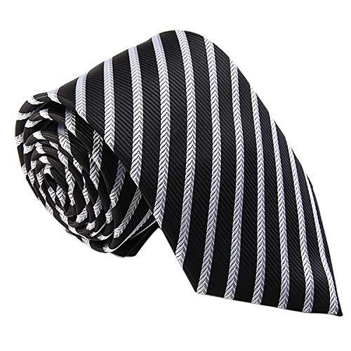 LYXPUZI Casual Tie Trabajo de los Hombres de Negocios 7cm Negro y Blanco a Rayas Lazo de los Hombres