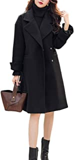 Volwassan Womens Wool Coat Winter Slim Trench Belted Jacket Notched Collar Peacoat Overcoat with Pockets