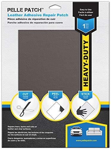 Pelle Patch - Parche Adhesivo de reparación para Cuero y Vinilo - Disponible en 25 Colores - Heavy-Duty 20cm x 28cm - Marrón- Gris