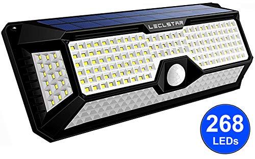 LED Solarlampen für Außen mit Bewegungsmelder - Neue Upgrade 268 LEDs Sloarleuchte, 4400mAh 2400LM, Wandleuchte mit 3 Modi, Solar Aussenleuchte Sensor kaltweiß,Wasserdicht