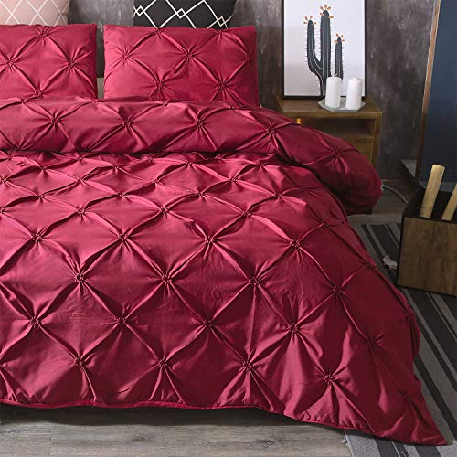Long Duvet Cover Set with Crushed Pleat Vintage Duvet Cover + 2 Pillowcases 3-Piece Set Super Soft Modern Bed Linen Set, red, 230 x 260 cm