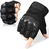 WTACTFUL Tactical Gloves Military Fingerless Half Finger Gloves for Army Gear Driving Paintball Airsoft Riding Motorcycle Motorbike Hunting Military Cycling Work Men Women Size Medium Black