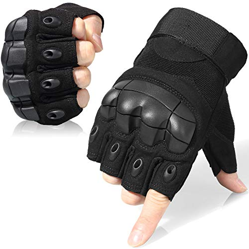 WTACTFUL Tactical Gloves Military Fingerless Half Finger Gloves for Army Gear Driving Paintball Airsoft Riding Motorcycle Motorbike Hunting Military Cycling Work Men Women Size Large Black