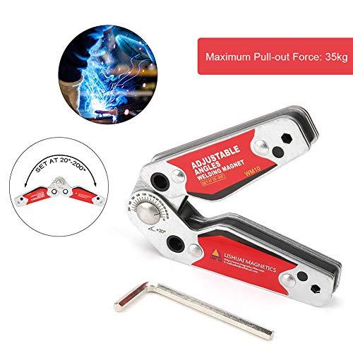 Soporte magnético de soldadura,Imán de soldadura,De Ángulos ajustables 20 ° -200 °,Accesorios de soldadura,12 * 8 * 2 cm