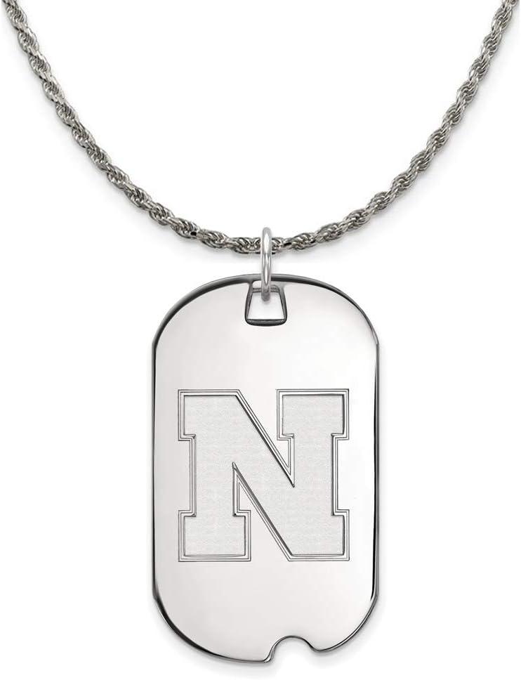 The Black Bow Silver U. of Neckla New Free Shipping Tag Nebraska Los Angeles Mall Large Pendant Dog