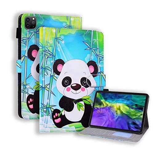 Miagon Hülle für iPad Pro {12.9 Zoll} 2020,Pu Leder Schutzhülle Case Cover mit Kartensteckplatz Ständer Funktion,Bambus Panda